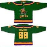 Christmas Costumes BOMBAY  #66 Mighty Ducks Movie Ice Hockey Jerseys Stitch Sewn Green Mix order