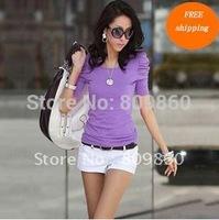 2014 new women Bubble sleeve cotton t-shirt short sleeve o-neck women tee free shipping