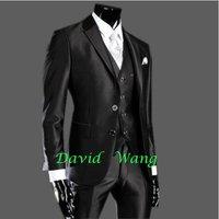 Free shipping 2014 new men's self-cultivation suits the groom best man wedding dress black matte ( jacket + vest + pant )