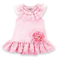 girl dresses girls Romper dress pink flower dress for Children Size:80 90 100