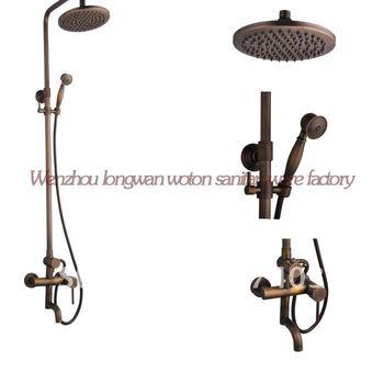 envío gratis nuevo estilo de moda bronce antiguo montado en la pared lluvia ducha grifo 6502 baño único conjunto de ducha