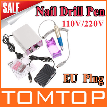 110/220V EU Plug Electric Nail Manicure Polishing Machine Nail Drill File Machine with Foot Pedal Free shipping wholesale