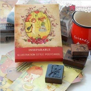 Freeshipping!! New Creative girl & cat  4pcs Wooden Stamp+ 32pcs postcard Set//funny Work/Fashion gift/wholesale