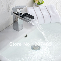 Bathroom Basin Tap Sink Mixer Chrome Faucet Waterfall Fashionable Design Cheap Deck Mounted Single Handle Chrome Finished  23601