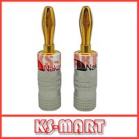 500pcs/lot DHL free shipping Nakamichi Banana Plug Gold Plated Speaker Connector 45.5MM*4.5MM KM2061