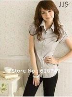 Free shipping New arrival summer women's shirts women short sleeve Korean Slim waist shirt shirt women short sleeve OL