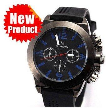 Free Ship Luxury Mens 6 Hand Dial Analog Rubber Strap Sport  Watch  Mens  quartz sport watch Fashio watch