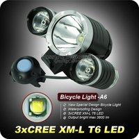 1Set A6 Bike Light 3800 Lumens 3T6 CREE XM-L 3 X T6 LED Bike Lilght 3 Modes Bike Front Light+8.4V 6400mAh Battery Pack+Charger