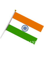 Free shipping small National flags Indian 14*21 cm with plastic poles