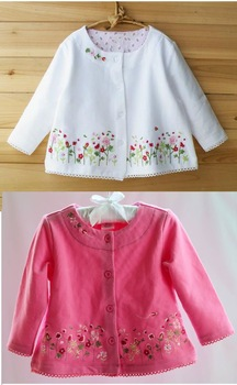 Free Shipping- Children's knit cardigan, girls' top,children outwear w embroidered flower, thin coat, baby's wear, white, rose