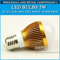 Wholesale 100pcs High power led bulbs E27 5W 500lm Gold AC85-265V Cold white/warm white Free shipping/DHL