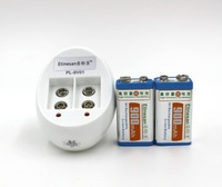 2pcs Super 880mAh 9v li-ion lithium Rechargeable 9 Volt Battery with charger set  5 Years Warranty