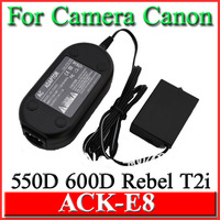 AC Power Adapter Charger ACK-E8 ACKE8 for Canon EOS 550D 600D  Kiss X4  Rebel T2i, 5 pcs