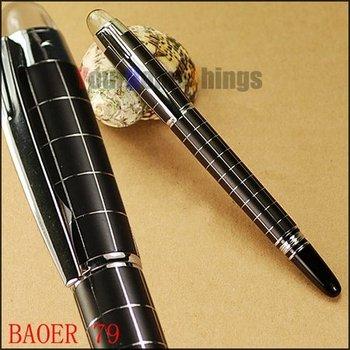 BAOER 79 fountain pen M nib black dan silver checked