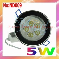 Wholesale 5W  white LED Lamp 450lm 6000k-6500k LED ceiling lighting Free shipping #ND009