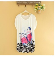 2014 New Style Fashion butterfly Printing Ice Silk Lady Cool Dress big size M L XL XXL XXXL 4xl 5xl 6xl women dress wholesaler