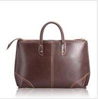 Free shipping , Genuine Leather Fashion men's brifecase,handsome shoulder/Messenger bag ,men handbag,Zipper,black/ brown