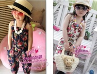 Hot selling ! girl's summer suspender pants girl's flower Jumpsuits baby overalls girl trousers children loose pants 5pcs/lot