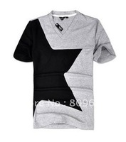 NEW ARRIVAL Fashion thin Knitted Fabric T-shirt Simple & Chic Street Style Tee V-neck star Design T Shirt FREE SHIPPING