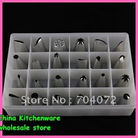 2015 Baking Tools for Cakes Wholesale -sugarcraft Cake Tools Stainless Steel Decorating Box Set 24 Icing Nozzles Pastry Tips
