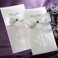 Vintage Flor-de-lis Free Personalized & Customized Printing Wedding Invitations Cards with Ribbon (Set of 50) Free Shipping