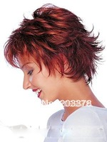 Fashion Women's Short Full straight and Curly Wavy Hair Wig Burgundy Free Shipping 10pcs/lot mix order Wholesale