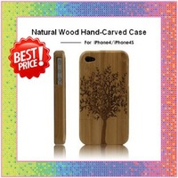 10pcs/lot Free Shipping Genuine 100% Natural Bamboo & Wood handmade Hand-Carved Case Cover for iPhone4 4G 4S