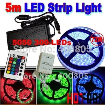 led strip 5050 RGB LED Strip 5m 12V 60led/m waterproof IP65 Light Tiras LED Licht +Controller + 6A Power Supply CE RoHS x 2pcs