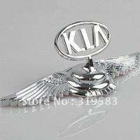 KIA  LOGO + Wing Zinc Alloy Metal Car Auto Front Emblems Hood Bonnet Sorento Opirus Rio Sedona Rondo Mohave Cadenza Sportage