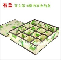 J6J SB016 green 16 Grids with cover socks underwear storage box 35*30*11cm green flower storage box non woven fabric