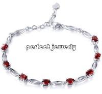 Garnet bracelet Free shipping Chain bracelet Natural garnet 925 silver plate 18k white gold Wholesale For women or girls