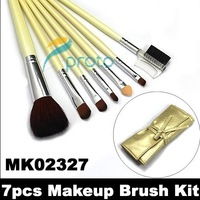 Factory Wholesale Price+20pcs/lot !NEW 7 pcs make up Cosmetic Brush Set with soft roll-up yellow case M0088X