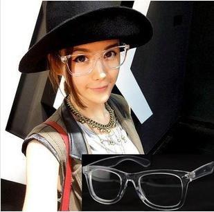 Wholesale Fashion Vogue Transparent Frame Rivets Eyeglasses Plastic Eyewear + Free shipping