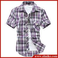 2014 HOT!!!! dropship Plaid Basic Short Sleeve Button Down Shirt Chinese SIZE HOT!!!! C267