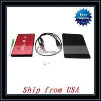 "Free Shipping + Wholesale 5pcs/lot 2.5"" Red USB 2.0 SATA HDD Hard Drive Enclosure Case Ship from USA-NTS02RE"