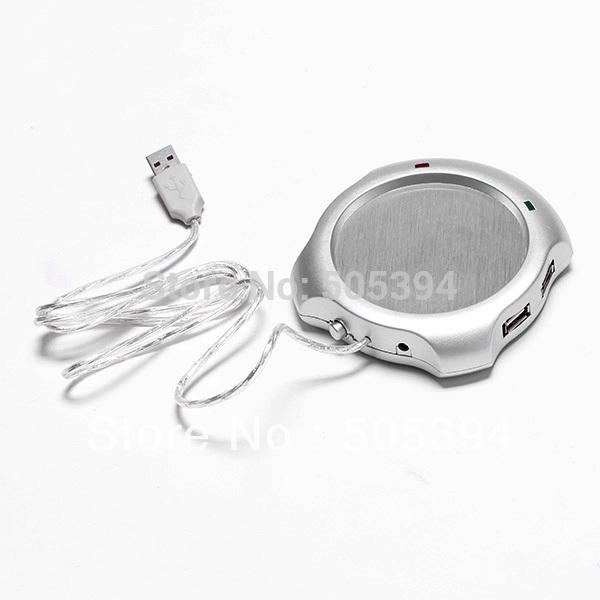 CoffeeTea Cup Warmer Heater PAD and 4 Port USB Full Speed Hub#8423(China (Mainland))