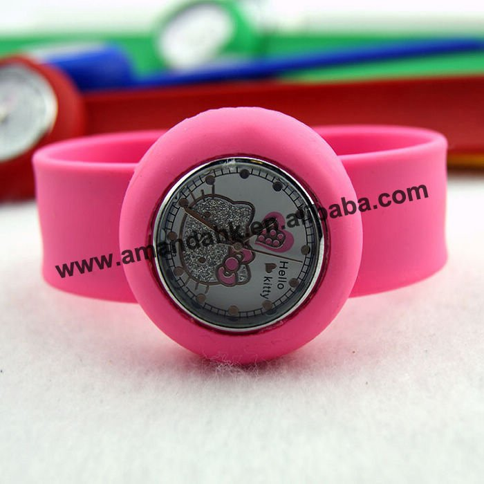 100pcs/lot,fashion jelly watch,hotsale new hello kitty style slap watch,small size,8colors available,DHL/UPS/EMS free shipping(China (Mainland))