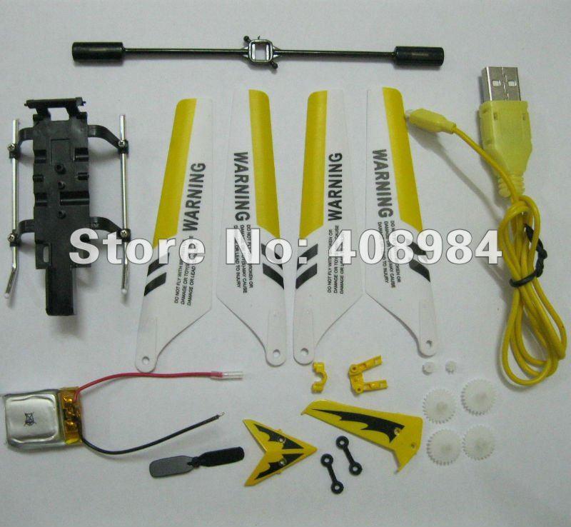 free shipping Syma S107 USB cable, main blade (A+B),lipo battery,tail blade,main gear landing gear spare parts(China (Mainland))