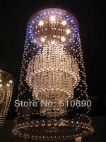 GD6101-7  WARM WHITE & BLUE 6 LIGHTS H1210 LARGE COLUMN DESIGN CRYSTAL CHANDELIER/PENDANT LAMP/CRYSTAL LIGHTING /FREE SHIPPING