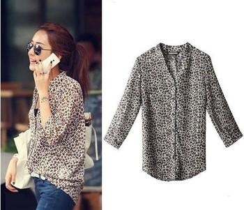 2012 women short t-shirt, Korea style leopard print V Neck turn-up cuff thin long sleeve shirt FREE SHIPPING WCX001