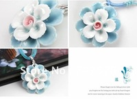 Fine Blue and White Ceramic Flowers Pendant necklace with Weaving adjustable strap Fashions Style Chinese elements Jewelry TNL27