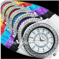 Free Shipping DHL Hot Selling 100pcs/lot Geneva Watch, 100% Silicone Strap, Jewelry Quartz Face, 9 Colors jelly