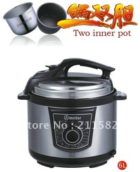 6LWGZ60-100 Two inner pot,electric pressure cooker,pressure cooker recipe,pressure cooker(China (Mainland))
