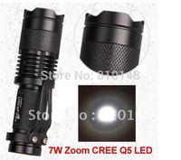 CREE Q5 LED Zoomable 700lm Torch Flashlight Light 7W 100pcs/lot EMS/DHL