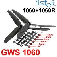 4 PAIRS GWS 1060 1060R 10x6 3-blade Rotating Reversed Propeller CW+CCW Multi Rotor