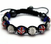 Free Shipping  New arrival mix style 'Rule Britannia flag' Shamballa Bracelet/Shamballa UK Flag Bracelet London Olympic Gift