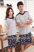 2014 new arrival couples cute cat print short sleeve pyjamas set / women men casual home clothes set / adults sleepwear