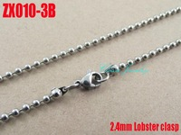 Lobster clasp  stainless steel ball chain 2.4mm beads  necklace fashion Jewelry parts beads chains 20pcs ZX010-3B