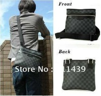 Fashion,shoulder,leather,canvas, men bag Grid cross style men's messenger bag