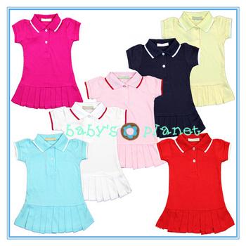 2015 new free shipping girl dress summer tennis dress sports suits pleatedskirt girl t shirt cotton fabric colorful 5pcs/lot